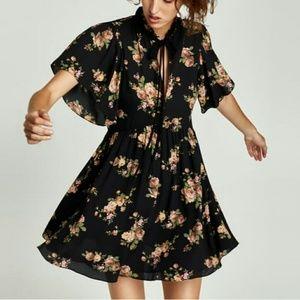Zara Mini Dress with Bow Floral Black